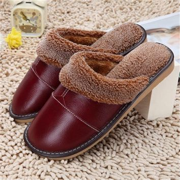 Hot Sale Women Waterproof Winter Warm Home Slippers High Quality Soft Leather Casual Men Shoe Man Ladies House Floor Slipper