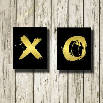 XO Golden Black Set of 2 Printable Instant Download Digital Print Art Wall Art Home Decor G169-171b