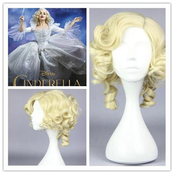 New Cinderella fairy godmode Beautiful wig Anime Wig synthetic short gold cosplay wigs,Colorful Candy Colored synthetic Hair Extension Hair piece 1pcs WIG-016G