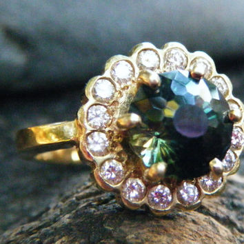 Green sapphire and diamond halo engagement ring, unique sapphire alternative engagement ring, huge Australian sapphire, conflict free gems