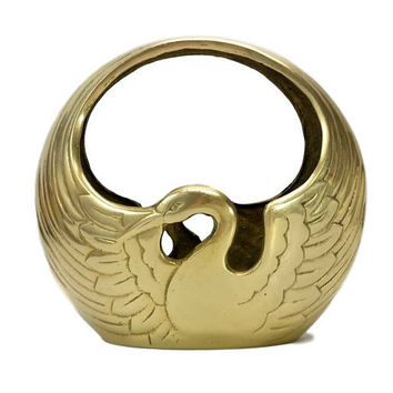 Brass Swan Planter Crane Basket Vintage Flower Pot Heron Bowl Bird Dish Handle Home Accent Holder Table Decor Gold Tone Metal Container