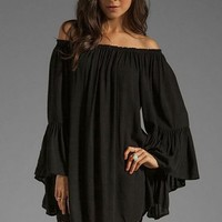 Bessky A SALE WomenBoho Solid Ruffle Sleeve Off Shoulder Dress