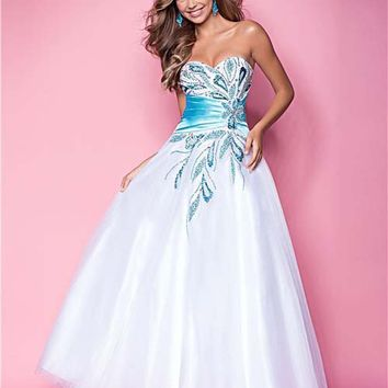 White & Sky Beaded Tulle & Charmeuse Strapless Empire Waist Prom Gown - Unique Vintage - Cocktail, Pinup, Holiday & Prom Dresses.