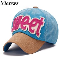 Yienws Love Sweet Pink Black Baseball Cap For Woman Summer Caps Bone Hip Hop Korean 6 Panels Full Cap YH106