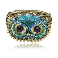 Antique- Gold-Tone Blue Crystal Rhinestone Hoot Owl Face Bracelet Bangle