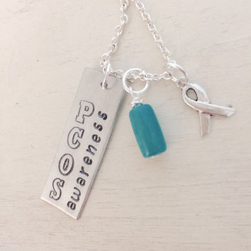 PCOS Awareness, Cyster, I wear teal for me, Team Teal, 1 in 10, Awareness Ribbon Necklace