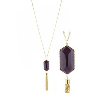 Brown Resin Stone and Gold Tassel Long Necklace