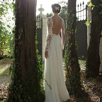 New White / Ivory Lace Wedding Dress Bridal dress, chiffon wedding dress, long sleeve backless evening dress bridal gown