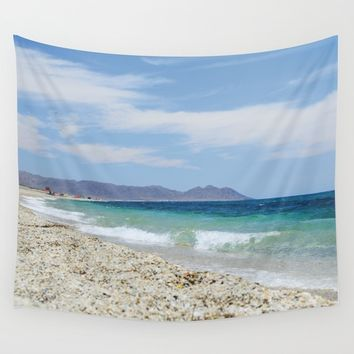 """Blue beach. Summer dreams"" Wall Tapestry by Guido Montañés"