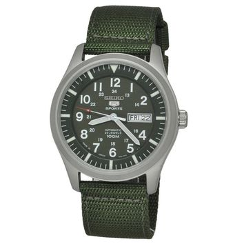 Seiko Men's 5 Sports SNZG09K1 Green Nylon Strap Watch (Color: Green)