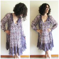 Amazing Vintage Super Craft 70s Purple Indian Gauze Cotton Hippy Boho Festival Small Dress