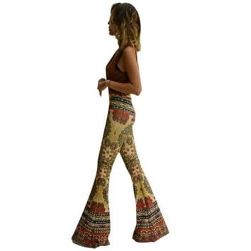 Womens Ankle Length Printed Stretch Flare Pants