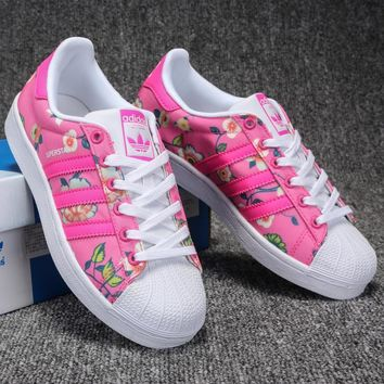 ADIDAS PINK Floral Fashion Shell-toe Flats Sneakers Sport Shoes Print G-CSXY