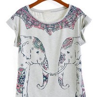 Cute Elephant Print Short Sleeve T-shirt - OASAP.com
