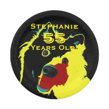 Happy Yellow Dog Paper Plates, 55th Birthday Party Paper Plate