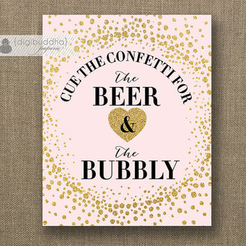 "Beer & Bubbly Sign INSTANT DOWNLOAD 8x10"" Blush Pink Gold Glitter Champagne Drink Bar Wedding Bridal Shower Printable DIY Digital - Remy"
