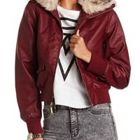 Faux-Fur Collar Bomber Jacket: Charlotte Russe