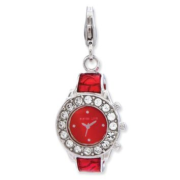 925 Sterling Silver Enameled 3-D Watch with Lobster Clasp Charm