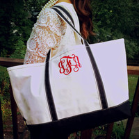 Zippered Top Canvas Tote with Handles : Large
