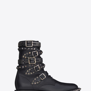 Signature Rangers Studded Punk Sole Boots in Black Leather