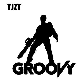 YJZT 15CMX15CM Cartoon ZOMBIE GROOVY Black/Silver/Red Car Sticker Vinyl Decals Accessories S8-1162