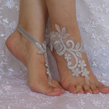 Gray lace silver frame barefoot sandals shoe  elegant beach wedding shoe bridesmaid gift Handmade