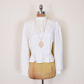d43b4a4b244a0 Vintage 70s Ivory Cream Off White Sheer Lace Blouse Top Shirt Ru