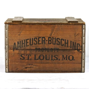 Anheuser-Busch Wooden Crate, Beer Crate, Industrial, Budweiser Beer Crate
