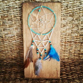 One of a Kind Dream Catcher String Art Sign, Native American Home Decor, Turquoise Gold Brown and White Beaded Nail and String Art