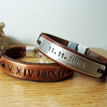 FREE SHIPPING - Couple Bracelet. Personalized Hand Stamped Bracelet, Men Bracelet. Men Gift, tumbled copper Plate Personalized Bracelet