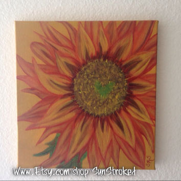 Fall Flower, 10x10, abstract, acrylic, original painting, FREE SHIPPING, happy art, autumn, Mabon