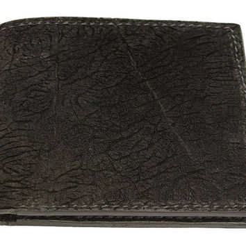 Genuine Black Hippopotamus Leather Bifold Wallet - Real Hippo Hide - Free Shipping to USA