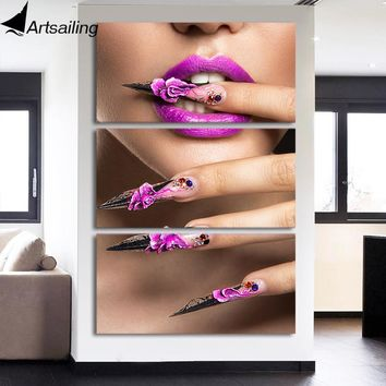 ArtSailing 3 panel Canvas wall art Sexy Beauty Nail Art Painting Home decoration picture for living room Poster NY-7765C