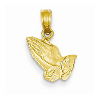 14k Yellow Gold Praying Hands Religious Pendant