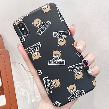 Moschino New fashion more letter bear print couple protective cover phone case Black