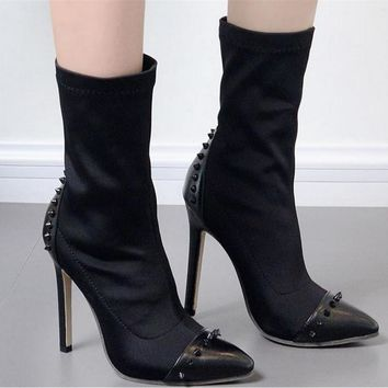 Fashion Stretch Personality Rivet Pointed-toe Mid-calf Boots Stiletto Heels Shoes