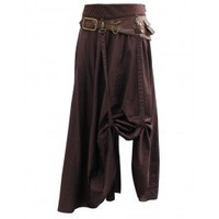 EW-107 - Brown Steampunk Skirt with Leather Belt and Chain Detail