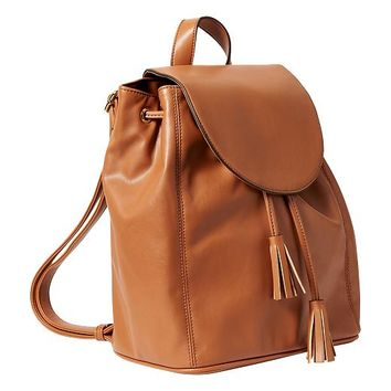 Old Navy Womens Faux Leather Backpack Purse Size One Size - Cognac brown