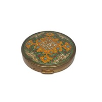 Coty New York AIRSPUN Pressed Powder Refillable Compact, Enamel and Brass Powder Compact with Mirror, Vintage 1950s Mid Century Compact
