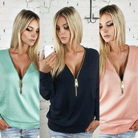 Plus size Sexy Deep V Zippers Batwing Sleeve Long Sleeve T-shirts Ladies Women's Fashion Hoodies [9415808076]