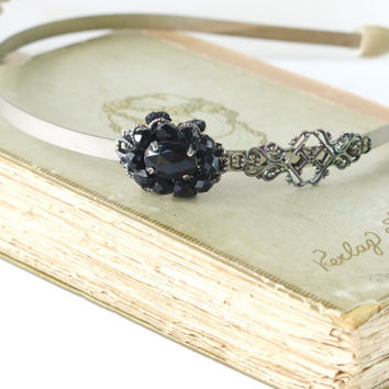 Steampunk Bridal Hair Accessories , Wedding Jewelry , Victorian Black  Headband By Talila Korolker
