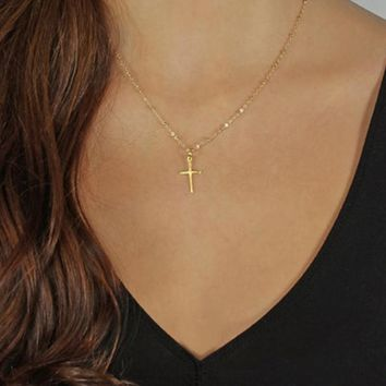 Small Gold / Silver Chain Cross Necklace
