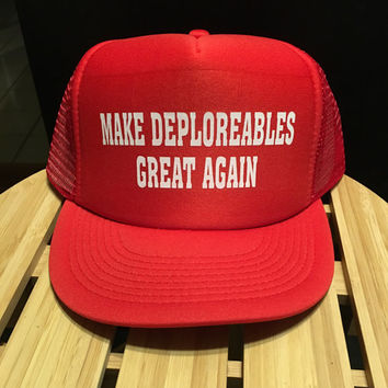 Create your very own Donald Trump trucker hat. You can write whatever you like:)