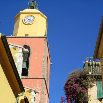 European Photography, St. Tropez, France, Clock Photo, Street Photography, Travel Photography, Do It Yourself Wall Art, IPhone Wallpaper