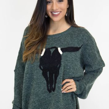 Hunter Green Bullhead Knit Sweater