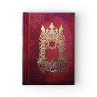Hard Cover Journal Antique Style Ink Stained Crimson Book
