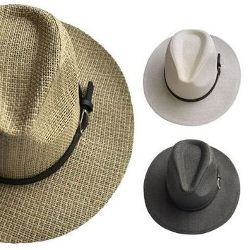 women's woven panama hat with buckle leather band Case of 144