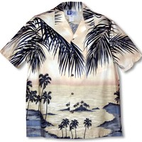 Island Escape Men's Hawaiian Aloha Shirt in Beige - Small