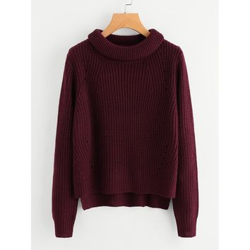 Roll Neck Staggered Hem Jumper