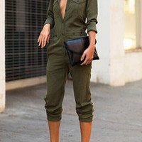 Army Green Button Closure Turndown Collar Jumpsuit